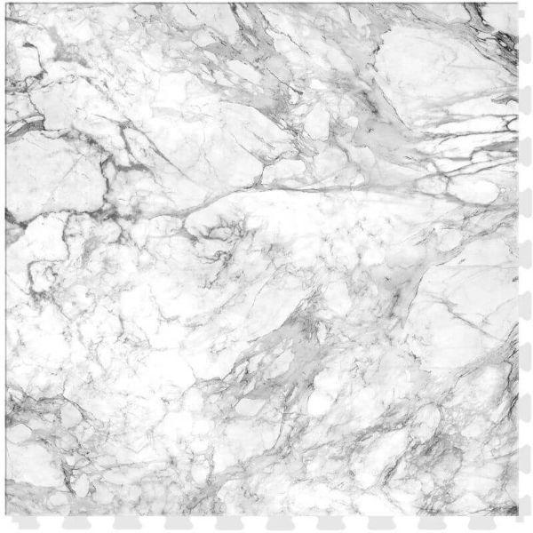 "Perfection Floor Tile Marble Luxury Vinyl Tiles - 5mm Thick (20"" x 20"") with White Marble Pattern Shown From the Top"