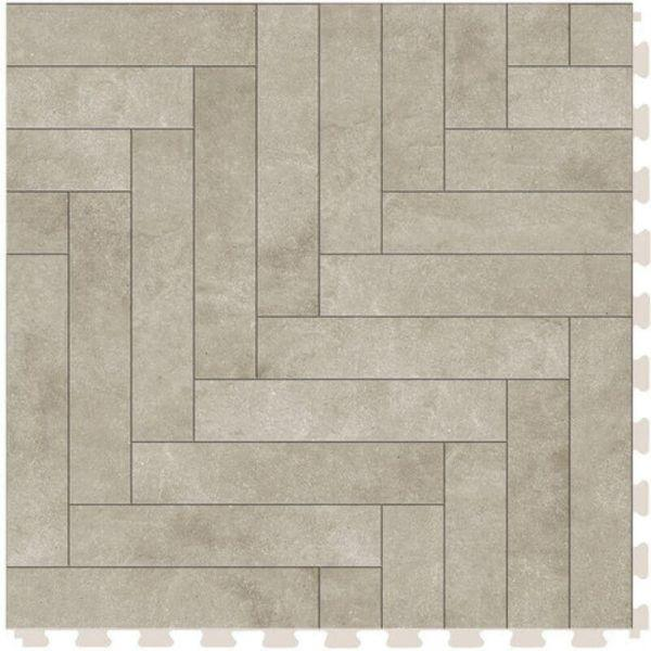 "Perfection Floor Tile Mosaic Luxury Vinyl Tiles - 5mm Thick (20"" x 20"") with Beige Chevron Pattern Shown From the Top"