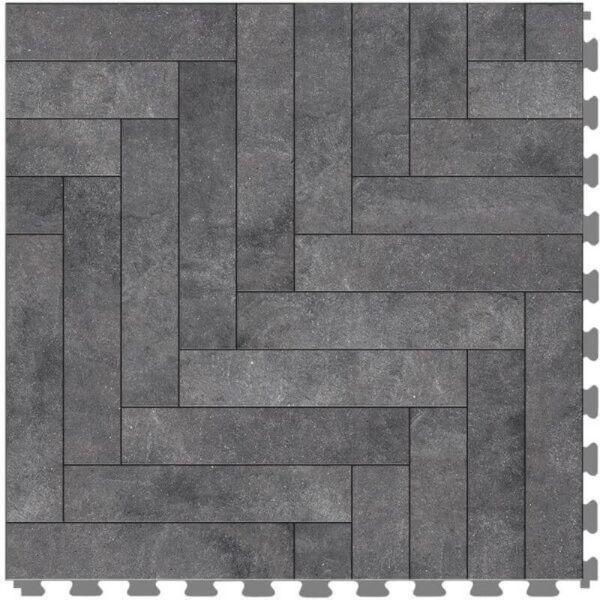 "Perfection Floor Tile Mosaic Luxury Vinyl Tiles - 5mm Thick (20"" x 20"") with Black Chevron Pattern Shown From the Top"