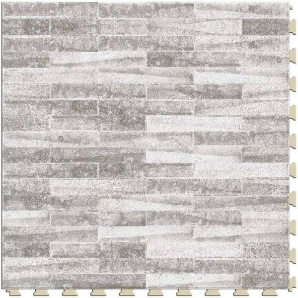 "Perfection Floor Tile Mosaic Luxury Vinyl Tiles - 5mm Thick (20"" x 20"") with Coastal Stone Pattern Shown From the Top"