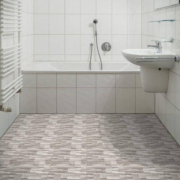 "Perfection Floor Tile Mosaic Luxury Vinyl Tiles - 5mm Thick (20"" x 20"") with Coastal Stone Pattern Being Used in a Large Bathroom"