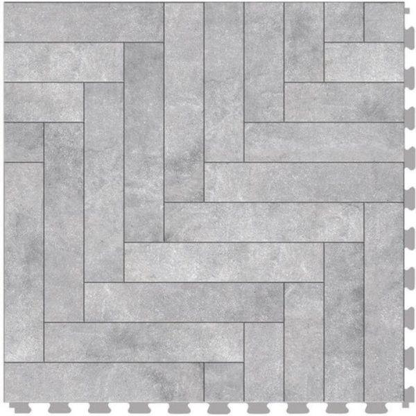 "Perfection Floor Tile Mosaic Luxury Vinyl Tiles - 5mm Thick (20"" x 20"") with Gray Chevron Pattern Shown From the Top"