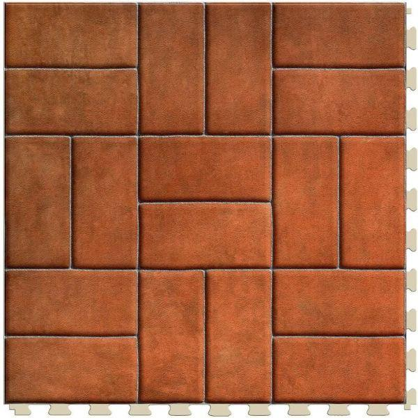 "Perfection Floor Tile Mosaic Luxury Vinyl Tiles - 5mm Thick (20"" x 20"") with Red Brick Pattern Shown From the Top"