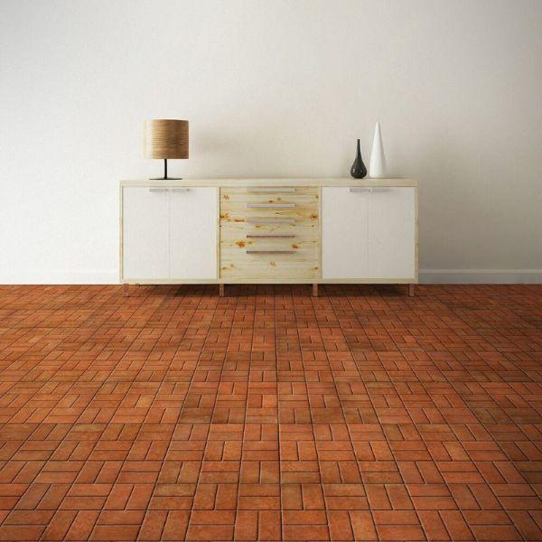 "Perfection Floor Tile Mosaic Luxury Vinyl Tiles - 5mm Thick (20"" x 20"") with Red Brick Pattern Being Used in a Living Room"