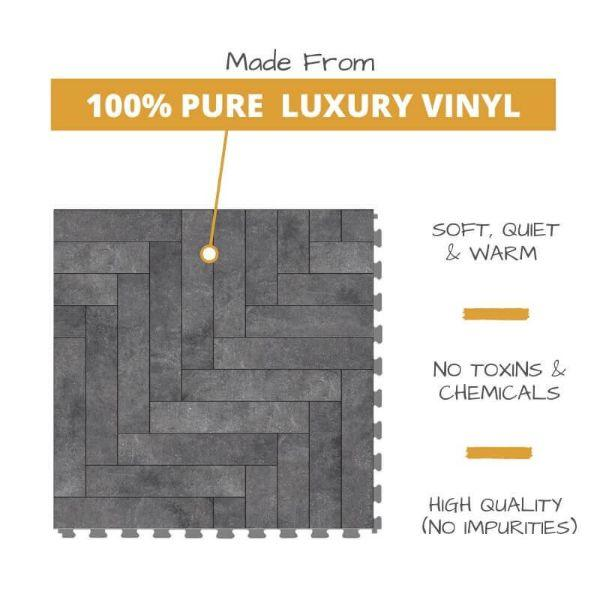 Perfection Floor Tile Mosaic Luxury Vinyl Tiles Made From 100% Pure Luxury Vinyl. Softer, Quieter and Warmer than PVC Floors. No Toxins or Chemicals. High Quality with no impurities.