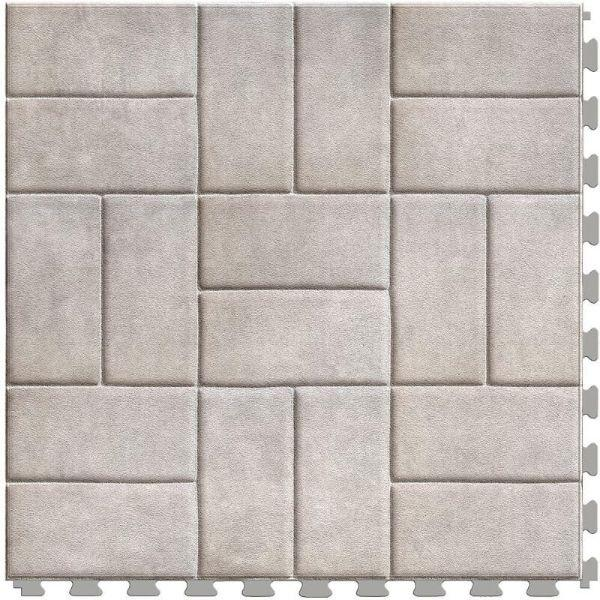 "Perfection Floor Tile Mosaic Luxury Vinyl Tiles - 5mm Thick (20"" x 20"") with White Brick Pattern Shown From the Top"