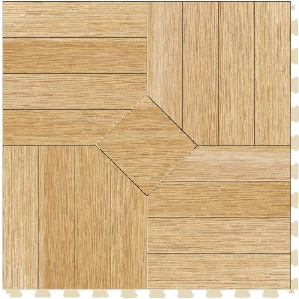 "Perfection Floor Tile Parquet Luxury Vinyl Tiles - 5mm Thick (20"" x 20"") with Birch Wood Pattern Shown From the Top"