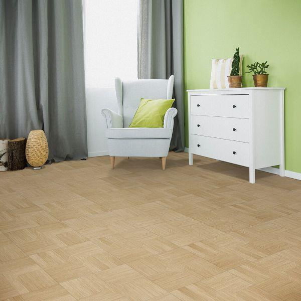 "Perfection Floor Tile Parquet Luxury Vinyl Tiles - 5mm Thick (20"" x 20"") with Birch Wood Pattern Being Used in a Living Room"