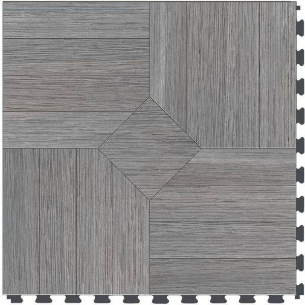 "Perfection Floor Tile Parquet Luxury Vinyl Tiles - 5mm Thick (20"" x 20"") with Driftwood Pattern Shown From the Top"