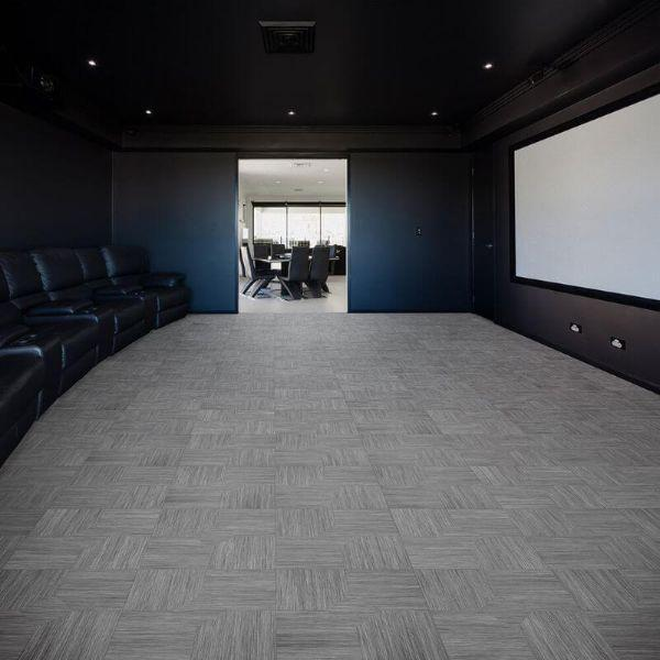 "Perfection Floor Tile Parquet Luxury Vinyl Tiles - 5mm Thick (20"" x 20"") with Driftwood Pattern Being Used in a Theater Room"