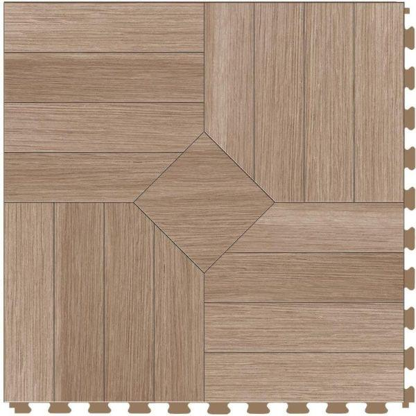 "Perfection Floor Tile Parquet Luxury Vinyl Tiles - 5mm Thick (20"" x 20"") with Hickory Wood Pattern Shown From the Top"