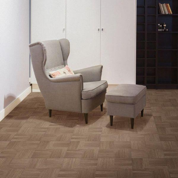 "Perfection Floor Tile Parquet Luxury Vinyl Tiles - 5mm Thick (20"" x 20"") with Hickory Wood Pattern Being Used in a Living Room"