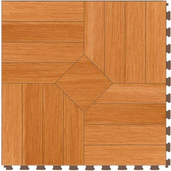 "Perfection Floor Tile Parquet Luxury Vinyl Tiles - 5mm Thick (20"" x 20"") with Maple Wood Pattern Shown From the Top"