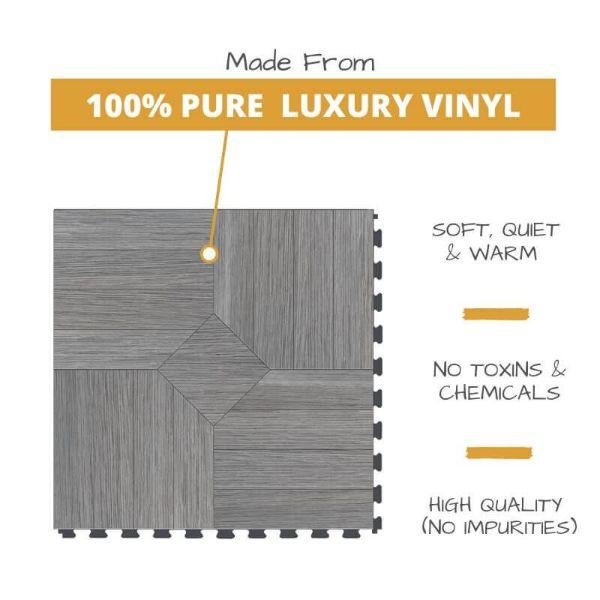 Perfection Floor Tile Parquet Luxury Vinyl Tiles Made From 100% Pure Luxury Vinyl. Softer, Quieter and Warmer than PVC Floors. No Toxins or Chemicals. High Quality with no impurities.