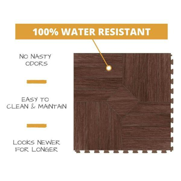 Perfection Floor Tile Parquet Luxury Vinyl Tiles 100% water resistant to prevent nasty odors, easy to clean and maintain, and looking newer for longer