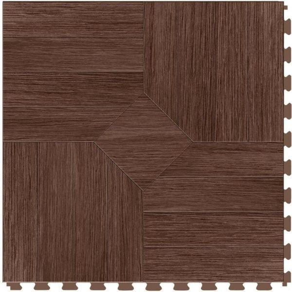 "Perfection Floor Tile Parquet Luxury Vinyl Tiles - 5mm Thick (20"" x 20"") with Walnut Wood Pattern Shown From the Top"