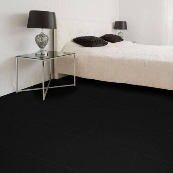 "Perfection Floor Tile Rawhide Leather Vinyl Tiles - 5mm Thick (20"" x 20"") in Black Rhino Color Being Used in a Residential Bedroom"