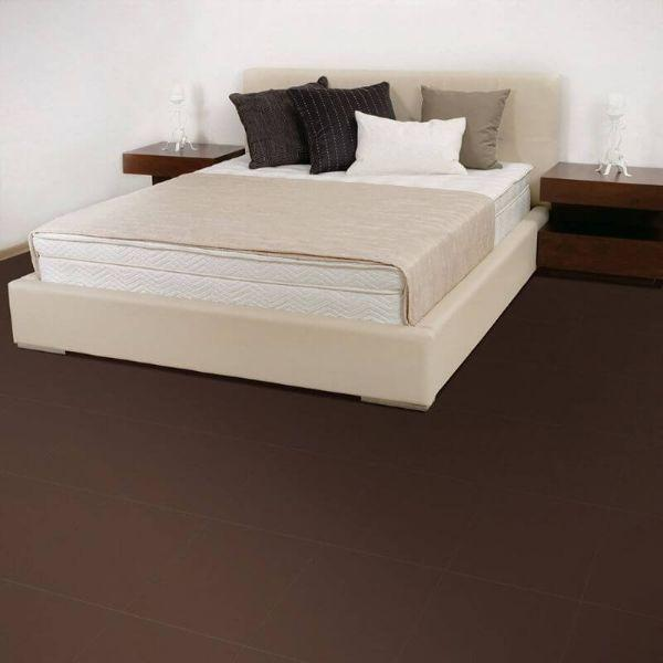 "Perfection Floor Tile Rawhide Leather Vinyl Tiles - 5mm Thick (20"" x 20"") in Buffalo Brown Color Being Used in a Bedroom"