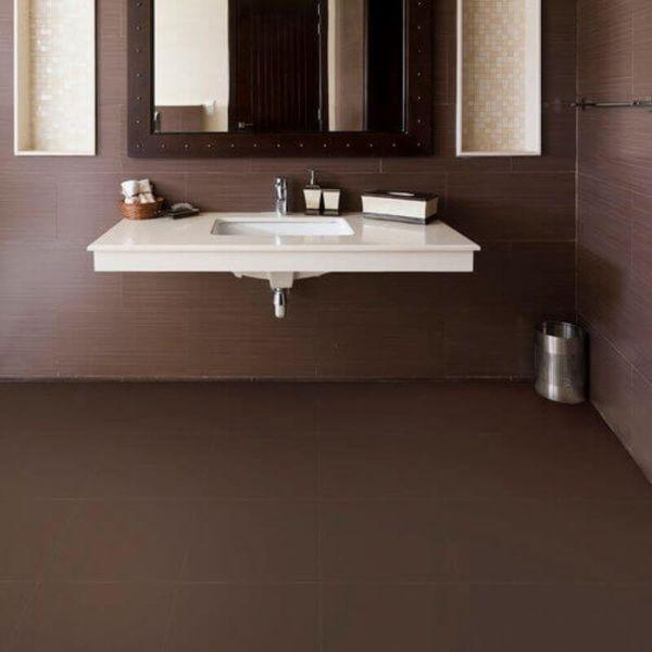 "Perfection Floor Tile Rawhide Leather Vinyl Tiles - 5mm Thick (20"" x 20"") in Buffalo Brown Being Used in a Bathroom"
