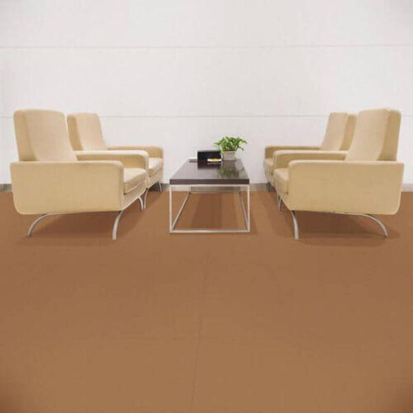 "Perfection Floor Tile Rawhide Leather Vinyl Tiles - 5mm Thick (20"" x 20"") in Palomino Brown Color Being Used in a Living Room"
