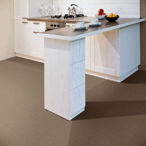 "Perfection Floor Tile Slate Vinyl Tiles - 5mm Thick (20"" x 20"") in Beige Color Being Used in a Kitchen"