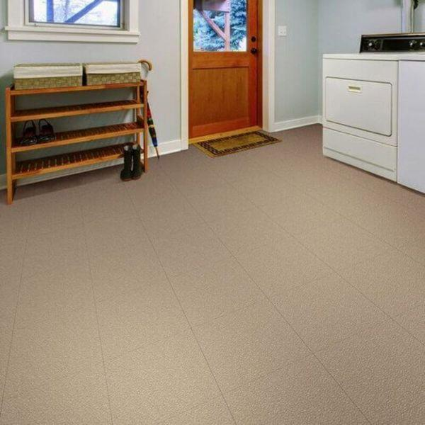 "Perfection Floor Tile Slate Vinyl Tiles - 5mm Thick (20"" x 20"") in Beige Color Being Used in a Living Room"
