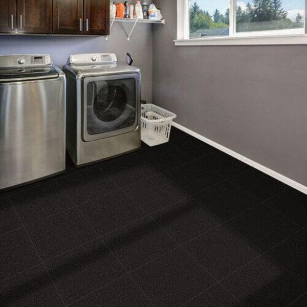 "Perfection Floor Tile Slate Vinyl Tiles - 5mm Thick (20"" x 20"") in Black Color Being Used in a Utility Room"