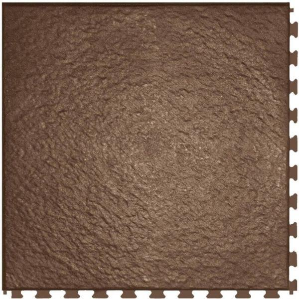 "Perfection Floor Tile Slate Vinyl Tiles - 5mm Thick (20"" x 20"") in Chestnut Color Shown From the Top"