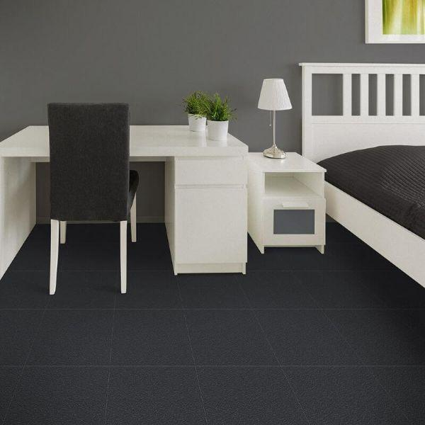 "Perfection Floor Tile Slate Vinyl Tiles - 5mm Thick (20"" x 20"") in Dark Gray Color Being Used in a Bedroom"