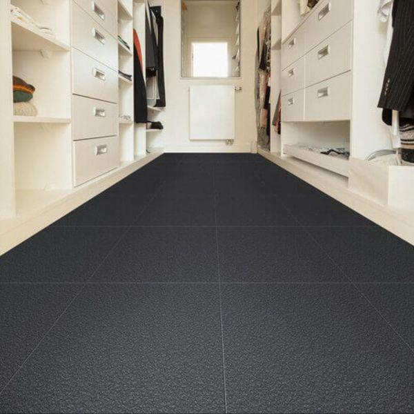 "Perfection Floor Tile Slate Vinyl Tiles - 5mm Thick (20"" x 20"") in Dark Gray Color Being Used in a Closet"