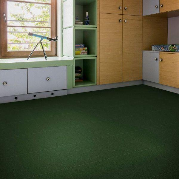 "Perfection Floor Tile Slate Vinyl Tiles - 5mm Thick (20"" x 20"") in Green Color Being Used in a Study"