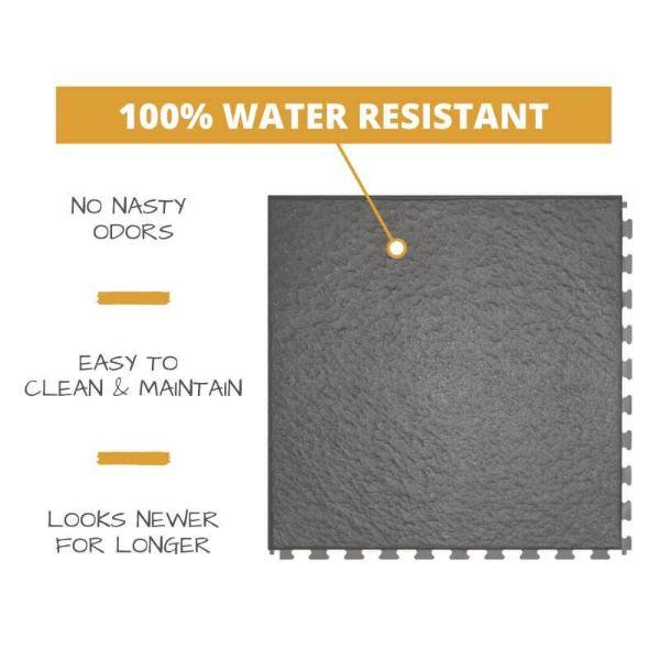 Perfection Floor Tile Slate Vinyl Tiles 100% water resistant to prevent nasty odors, easy to clean and maintain, and looking newer for longer