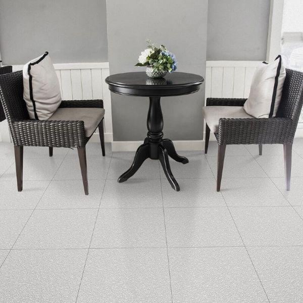 "Perfection Floor Tile Slate Vinyl Tiles - 5mm Thick (20"" x 20"") in White Color Being Used in a Living Room"