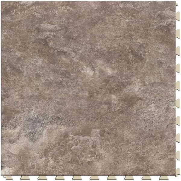 "Perfection Floor Tile Slate Stone Luxury Vinyl Tiles - 5mm Thick (20"" x 20"") with Slate Stone Pattern Shown From the Top"