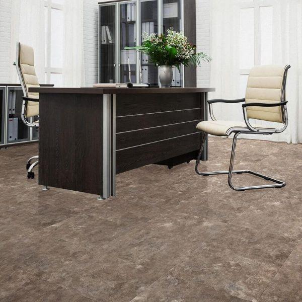 "Perfection Floor Tile Slate Stone Luxury Vinyl Tiles - 5mm Thick (20"" x 20"") with Slate Stone Pattern Being Used in an Office"