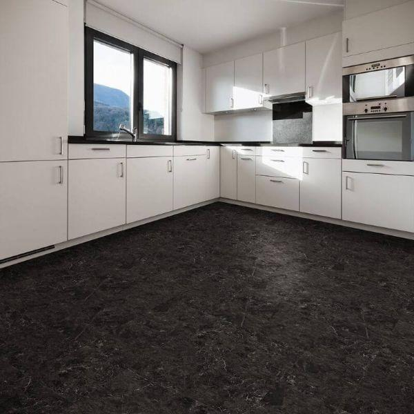 "Perfection Floor Tile Slate Stone Luxury Vinyl Tiles - 5mm Thick (20"" x 20"") with Norfolk Slate Pattern Being Used in a Kitchen"