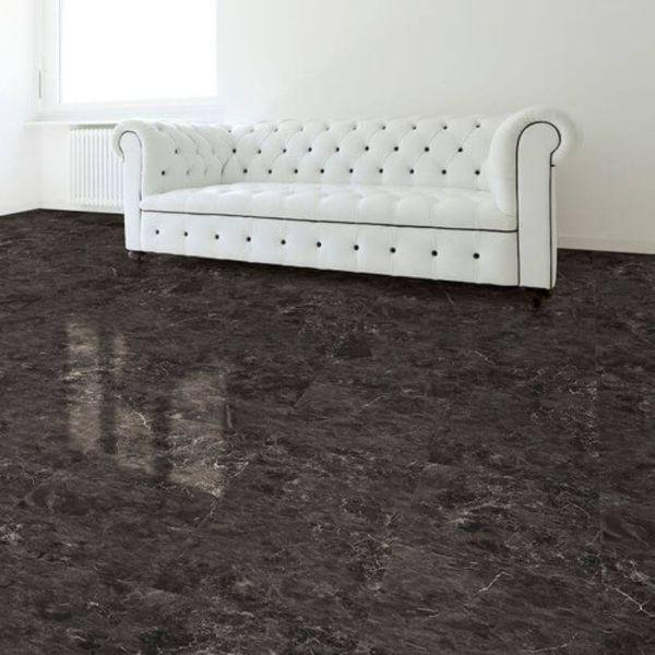 "Perfection Floor Tile Slate Stone Luxury Vinyl Tiles - 5mm Thick (20"" x 20"") with Norfolk Slate Pattern Being Used in a Living Room"