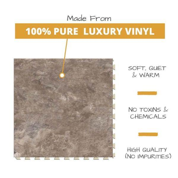 Perfection Floor Tile Slate Stone Luxury Vinyl Tiles is 5MM Thick To Ensure Maximum Softness and Durability