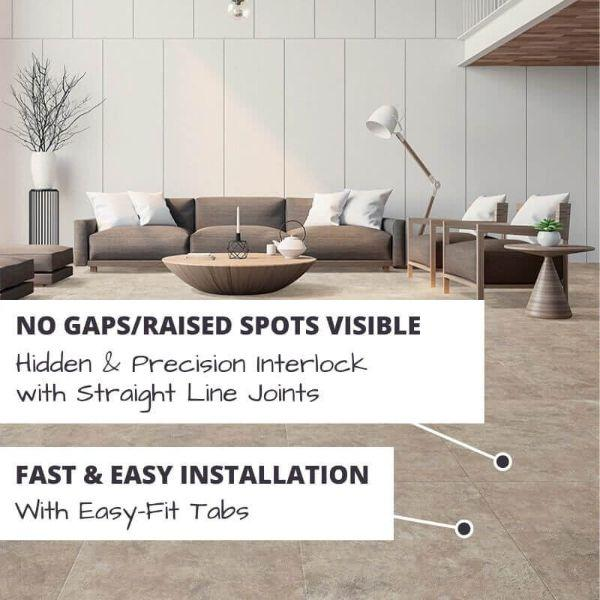 Perfection Floor Tile Slate Stone Luxury Vinyl Tiles No Gaps/Raised Spots Visible with Hidden & Precision Interlock with Straight Line Joints.