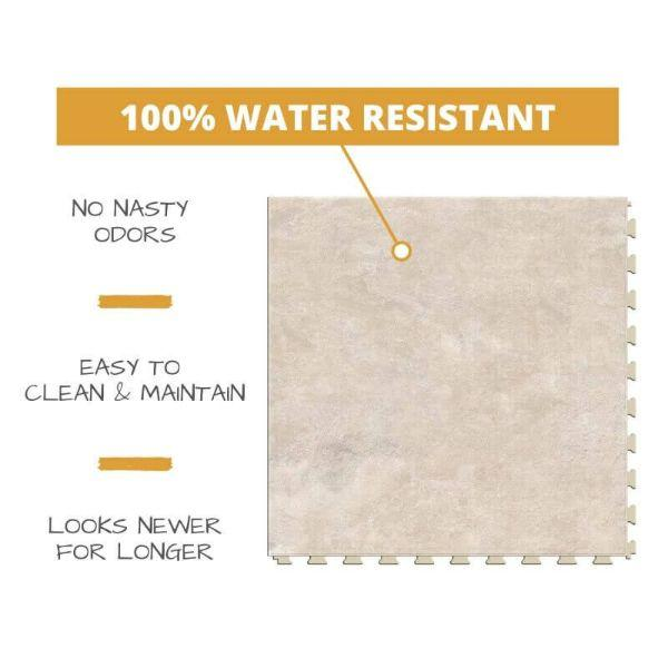 Perfection Floor Tile Slate Stone Luxury Vinyl Tiles 100% water resistant to prevent nasty odors, easy to clean and maintain, and looking newer for longer