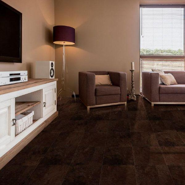 "Perfection Floor Tile Slate Stone Luxury Vinyl Tiles - 5mm Thick (20"" x 20"") with Solarius Slate Pattern Being Used in a Living Room"
