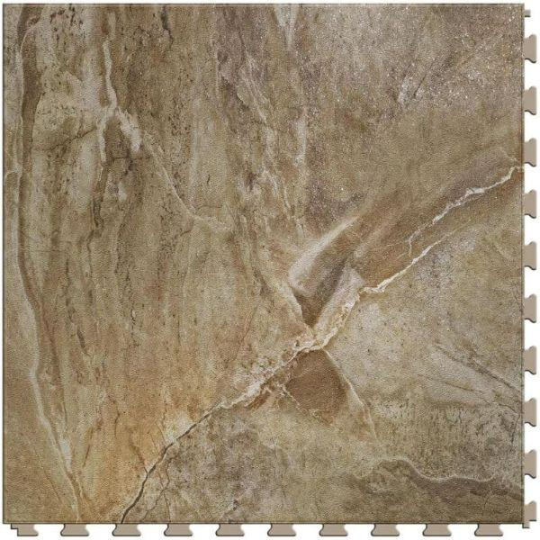 "Perfection Floor Tile Natural Creek Stone Luxury Vinyl Tiles - 5mm Thick (20"" x 20"") with Country Stone Pattern Shown From the Top"