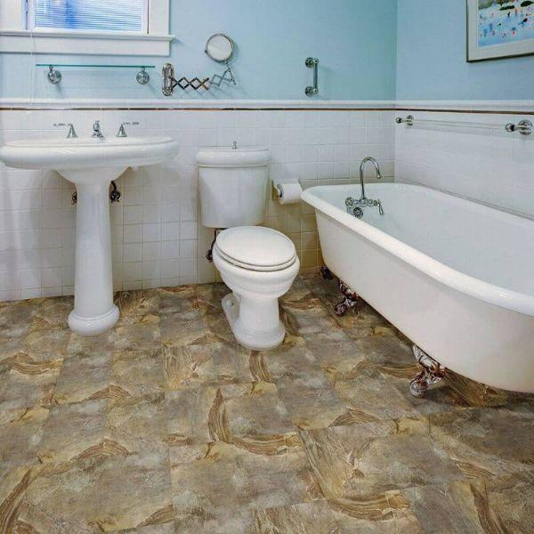 "Perfection Floor Tile Natural Creek Stone Luxury Vinyl Tiles - 5mm Thick (20"" x 20"") with Country Stone Pattern Being Used in a Bathroom"