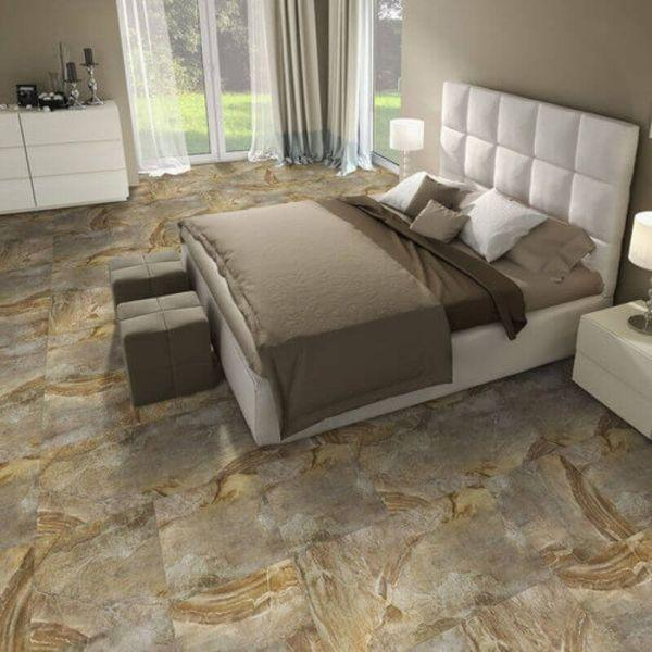 "Perfection Floor Tile Natural Creek Stone Luxury Vinyl Tiles - 5mm Thick (20"" x 20"") with Country Stone Pattern Being Used in a Bedroom"