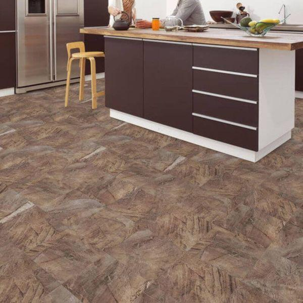 "Perfection Floor Tile Natural Creek Stone Luxury Vinyl Tiles - 5mm Thick (20"" x 20"") with Megata Stone Pattern Being Used in a Kitchen"