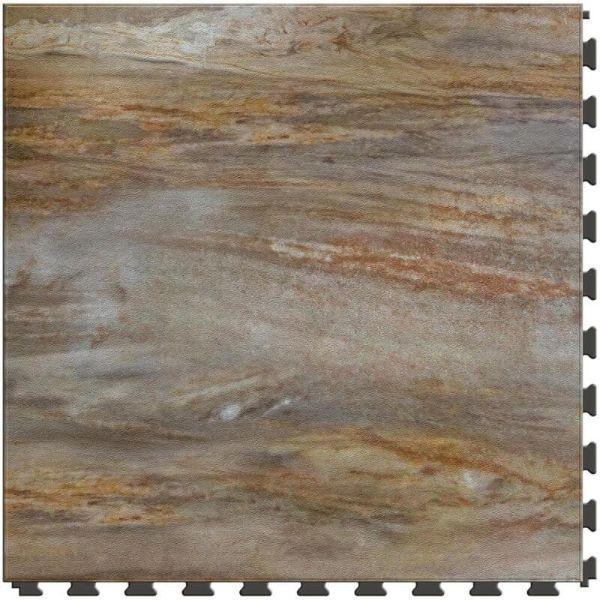 "Perfection Floor Tile Natural Creek Stone Luxury Vinyl Tiles - 5mm Thick (20"" x 20"") with Petrified Wood Stone Pattern Shown From the Top"