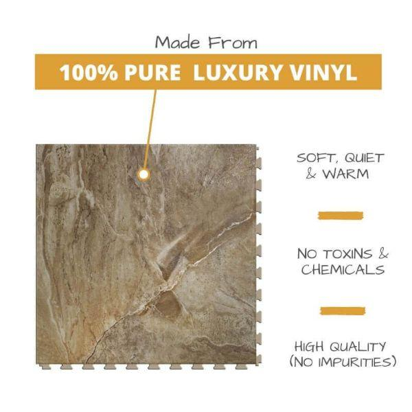Perfection Floor Tile Natural Creek Stone Luxury Vinyl Tiles is 5MM Thick To Ensure Maximum Softness and Durability