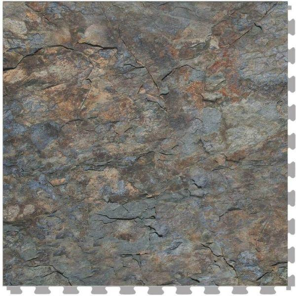 "Perfection Floor Tile Natural Creek Stone Luxury Vinyl Tiles - 5mm Thick (20"" x 20"") with Southern Shale Pattern Shown From the Top"