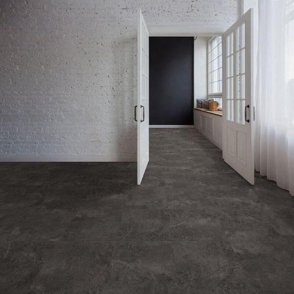 "Perfection Floor Tile Tivoli Stone Luxury Vinyl Tiles - 5mm Thick (20"" x 20"") with Amtico Tivoli Pattern Being Used in a Bedroom"