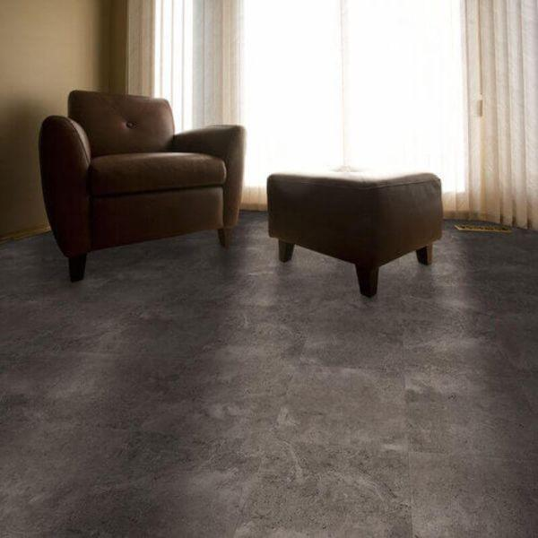 "Perfection Floor Tile Tivoli Stone Luxury Vinyl Tiles - 5mm Thick (20"" x 20"") with Amtico Tivoli Pattern Being Used in a Living Room"
